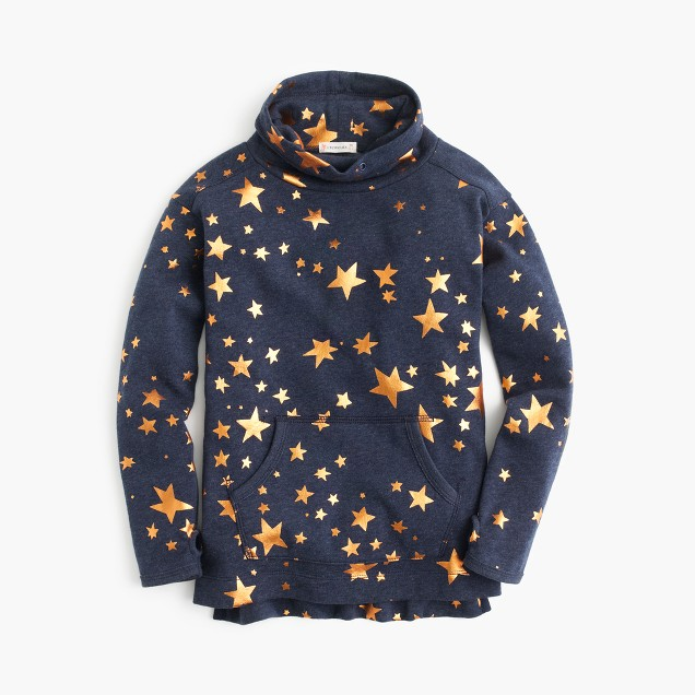 Girls' metallic star turtleneck sweatshirt
