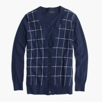 Classic V-neck cardigan sweater in windowpane print