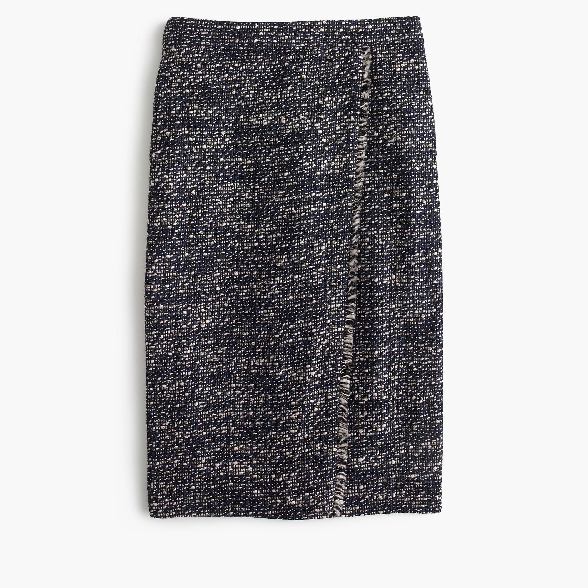 Faux-Wrap Pencil Skirt In Metallic Tweed : Women's Skirts | J.Crew