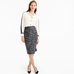 Petite faux-wrap pencil skirt in metallic tweed