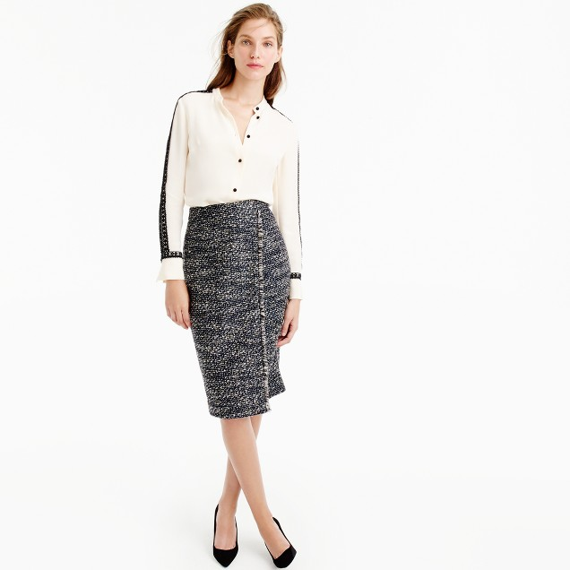Faux-wrap pencil skirt in metallic tweed