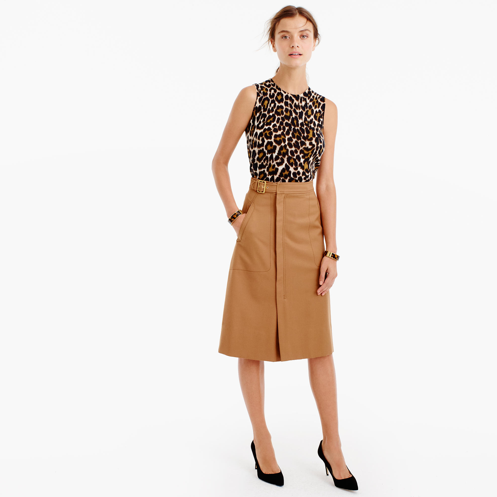 Belted A-line skirt : Women A-line/Midi | J.Crew