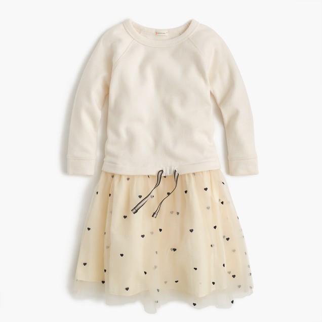 Girls' sweatshirt dress with hearts