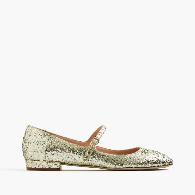 Mary Jane flats in glitter