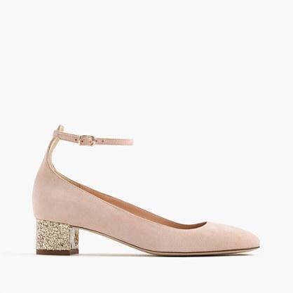 Contrast glitter heels in suede