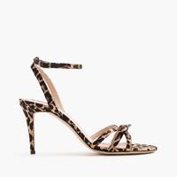 Leopard bow sandals