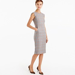 Cap-sleeve dress in glen plaid