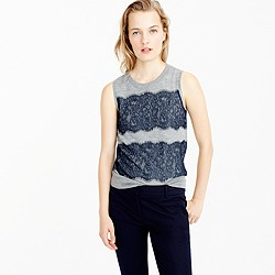 Lightweight wool Jackie sweater shell with lace