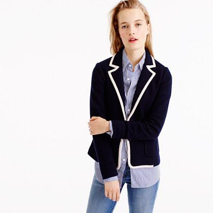 Tipped sweater blazer in merino wool