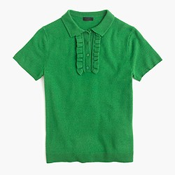 Italian cashmere ruffle polo sweater