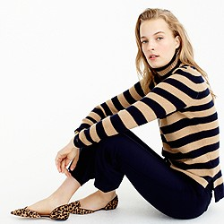 Italian cashmere ribbed turtleneck in stripe