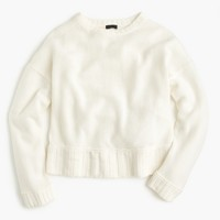 Italian cashmere drop-shoulder crewneck sweater