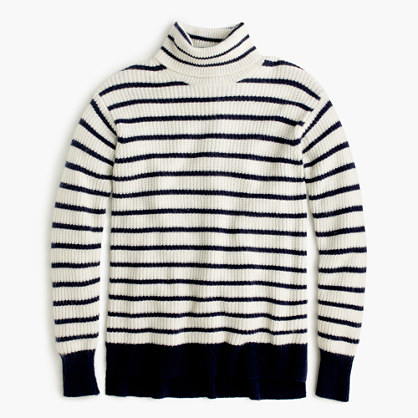 Ribbed relaxed wool turtleneck sweater in stripe