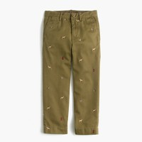 Boys' garment-dyed critter chino pant in dogs