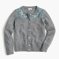 Girls' sequin necklace cashmere cardigan sweater