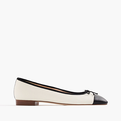 Kiki leather cap-toe ballet flats