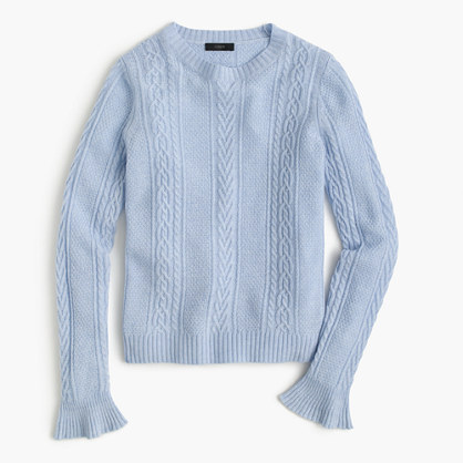 Cable crewneck sweater with ruffle sleeves