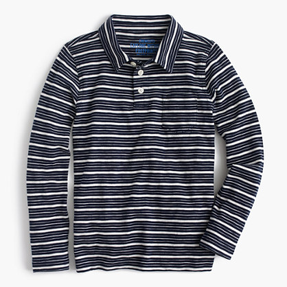 Boys' long-sleeve polo shirt in mini stripe