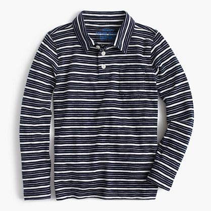Boys' long-sleeve polo shirt in mini stripe