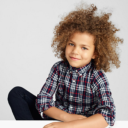 Boys' Secret Wash shirt in navy-red tartan
