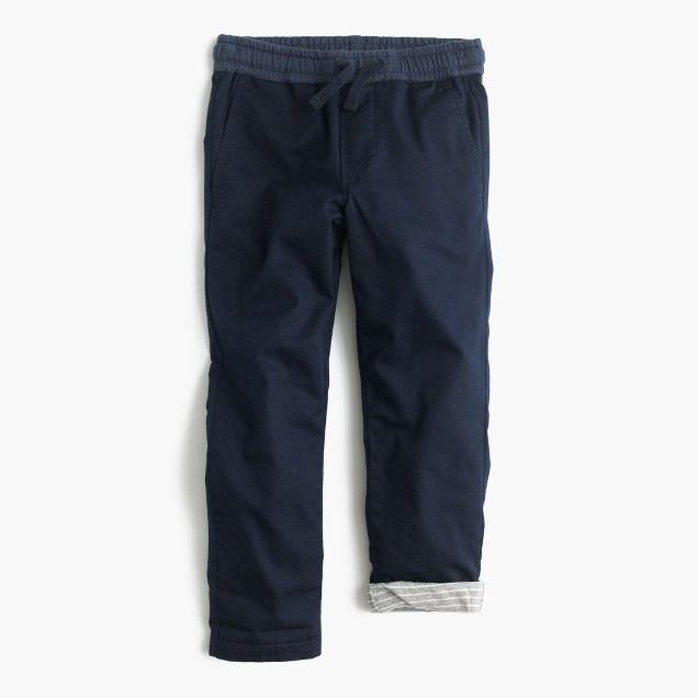 Boys' jersey-lined cozy pull-on chino pant