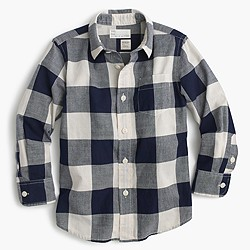 Kids' crinkle poplin shirt in buffalo plaid