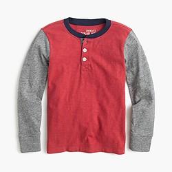 Boys' long-sleeve colorblock henley T-shirt
