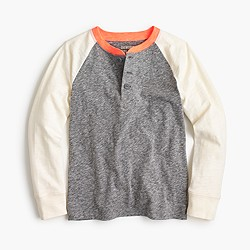Boys' long-sleeve baseball henley T-shirt in the softest jersey
