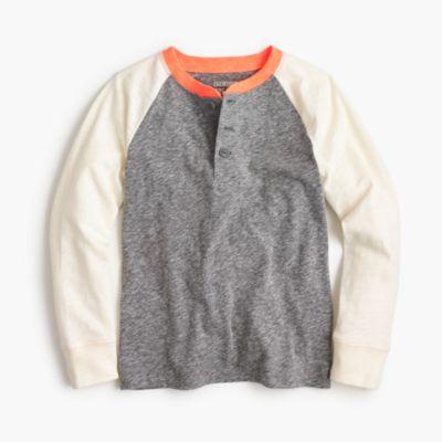 Boys' long-sleeve baseball henley T-shirt in the softest jersey