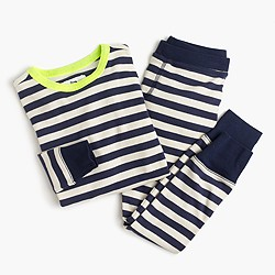 Boys' pajama set in neon indigo stripe