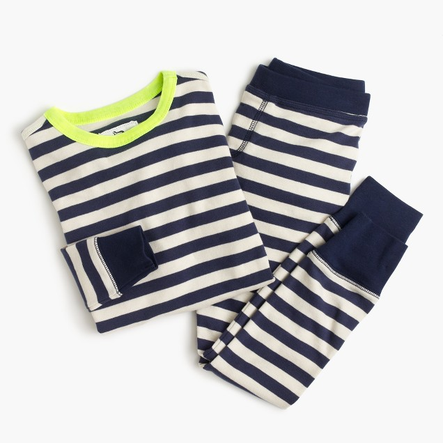 Kids' pajama set in neon indigo stripe