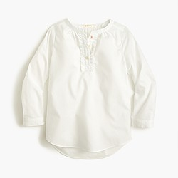Girls' ruffle-placket tunic