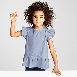 Girls' flutter-sleeve top
