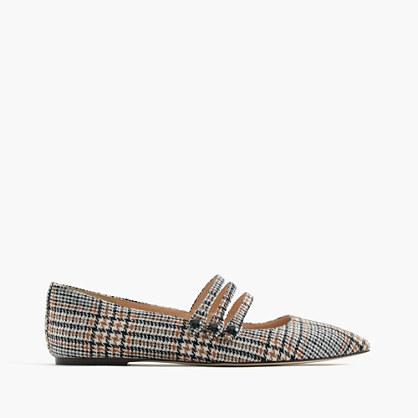 Strappy pointed-toe flats in tweed
