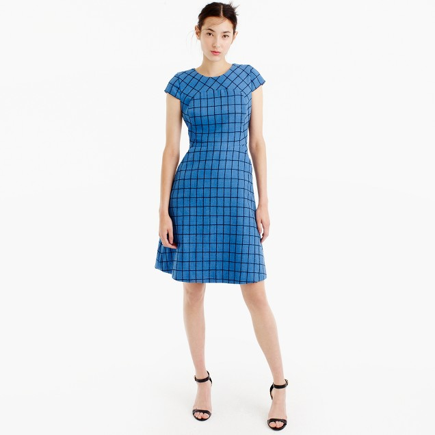 A-line dress in windowpane tweed