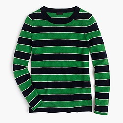 Italian cashmere striped long-sleeve T-shirt