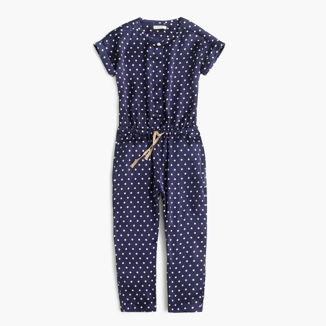 Girls' polka-dot drapey jumpsuit
