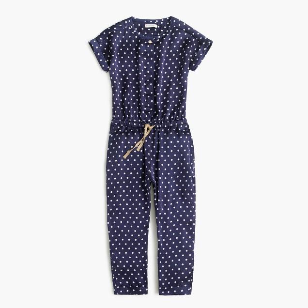 Girls' polka-dot drapey jumpsuit