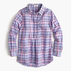 Girls' pastel plaid shirt