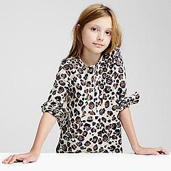 Girls' painted leopard-print top