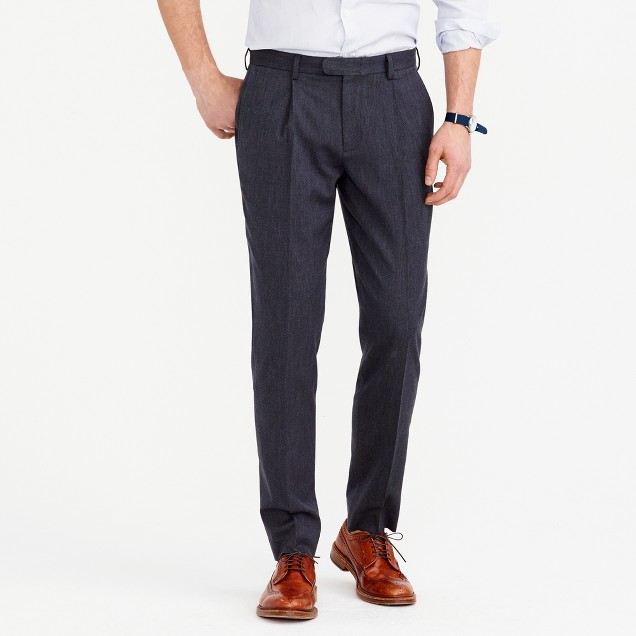 Bowery pleated pant in wool
