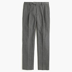 Bowery pleated pant in lightweight wool herringbone
