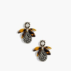 Pavé drop earrings with tortoise
