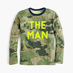"Boys' long-sleeve glow-in-the-dark ""the man"" T-shirt"