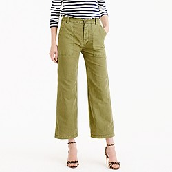 Cropped wide-leg pant in linen-cotton