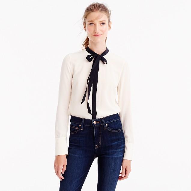 Contrast tie-front silk top