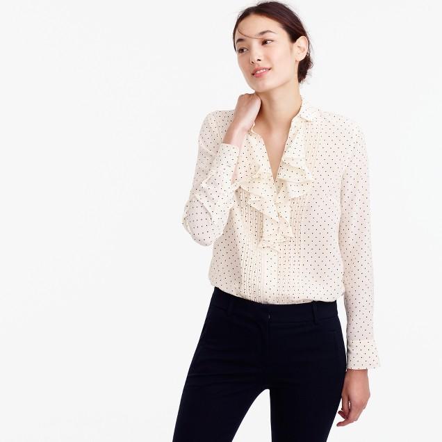 Tuxedo ruffle top in polka-dot silk