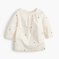Girls' ruffle-neck top with hearts