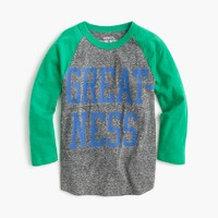 """Boys' """"greatness"""" three-quarter-sleeve T-shirt in the softest jersey"""