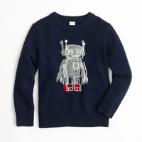 Boys' softspun robot crewneck sweater